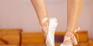 A ballet dancer ready to perform